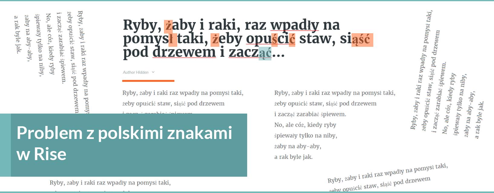 problem z polskimi znakami w rise